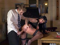 Kerry Louise is a sex obsessed busty teacher with dirty thoughts on her mind. Woman in black stockings pulls out her giant tits and opens her legs. Danny D sticks his big cock in her wet vagina. Watch big racked slut get shagged.