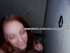 Hardcore dick sucking in this this glory hole by beautiful red head, Dani Jensen. She is feeling all hot and horny as she stands in the small room waiting for her first cock to dick on. Watch as she gets these dicks all wet before she pushes her tight pussy over them and gives them a ride to remember.
