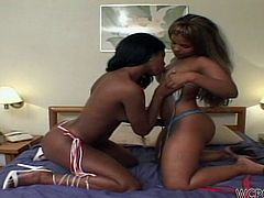 These two chocolate lesbians are having some girl on girl action and rub each others cunt with passion. They love to lick and rub their vaginas but when this guy gets in the picture and offers them his big, hard dick things change a little. The girls leave their lesbian lust and start sucking that big dick.