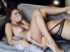 Sweet babes love to lick their warm twats during hot lesbian masturbation show
