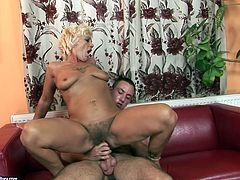 Spoiled and too voracious short haired blond gammer gets her mature cunt licked