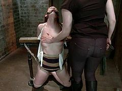 Stunning girl gets tied up and fingered by the master. Then she gets her pussy gaped with clothespins and toyed with massive dildo.
