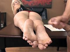 Alexis Texas is one of the hottest and most experienced porn bitches. She dominates her boss then gives him amazing footjob and he is ready to jizz allover her sexy feet!