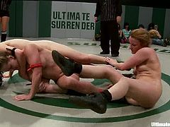 Three chicks wrestle in a ring showing no fear and respect to each other. After some time the losing girl has to lick pussies.