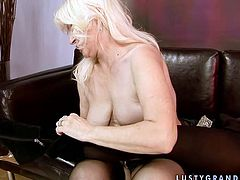 Ample blond mature lies on her back welcoming a thorough tongue fuck of her aroused pussy before she goes down to a soaking cunt of mesmerizing blond babe to eat it with pleasure.