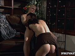 Busty brunette milf Dylan Ryder is getting naughty with a bald stud in a study. The hottie pleases the guy with a nice blowjob and then they fuck doggy style and other positions.
