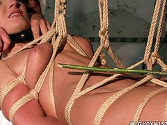 This slut is suspended in the air by the ropes and completely at the mercy of her mistress. She is helpless and ready for any sex tortures.