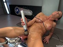 Insatiable brown-haired milf Ariel X is playing dirty games indoors. She oils her hot body and strokes it and then takes three dildos in her cunt and gets her pink cave ripped apart.