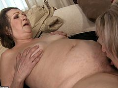 Tanned blondie with cute tits seduces old bitchie brunette with saggy huge tits and enormous ass. Both dykes undress to eat each other's wet cunts right on the couch. Check them out in 21 Sextury xxx clip to jack off and cum of delight!