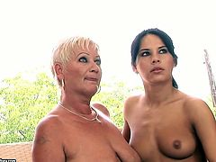 21 Sextury backstage sex clip is surely worth checking out. Kinky slim brunette with sweet tits gets her fresh pussy rubbed and fingered by obese old and booty lesbian right on cam.