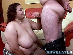 watch this BBW Latina having such a great time in this hot clip where she sucks and fucks this guy's large cock.