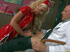 Courtney Taylor is a new nurse that takes doctors cock in her pussy for the first time. Johnny Sins bangs her mouth and amazing tits before he sticks it in her dripping wet vagina.