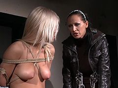 Horny blondie with nice petite ass is all naked. Horny brunett ties her up with ropes. Then spoiled bitch puts some metal BDSM stuff onto her tits and nipples. Check out this steamy bondage session in 21 Sextury xxx clip to jack off a bit for pleasure.
