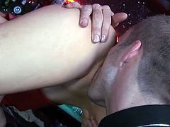 Guy licking two pussies