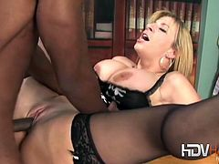 Hot attorney Sara Jay is having fun with a brother from the hood. She tasted his chocolate stick and took it up her cunt like a cock-hungry slut!