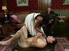 The naughty ebony Nyomi Banxxx will have fun with one guy, strapon fucking and dominating him, before she forces him to see her getting fucked by another cock.