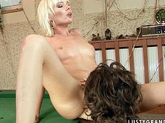 Young whore gets her sweet pussy expertly eaten out. Then she drills this mature woman's pussy with her favorite sex toy in the hottest lesbian sex scene ever.
