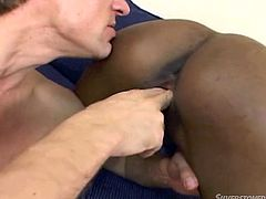 Nasty black slut gets her pussy licked and fingered by snow white thirsty guy. Then she gets on top of hard shaft jumping actively in reverse cowgirl position.