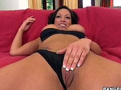 Check out this brunette milf's perfect ass and her big tits in this hardcore video where she has a great time with this guy's large cock.