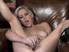Sweet-looking blondie with cool parts of body Ainsley Addison stays in high heeled shoes only before starting to play with glass dildo. Watch her masturbating right now!