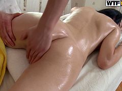 Lovely girl gets the best massage in her life. She gets so damn horny that gives a blowjob to the masseur. Then she gets fucked in her soaking pussy.