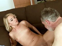 Horny blonde hooker has got slim body and small natural tits. She is lying naked on a couch getting her clam polished properly. Then she gets on top of hard pecker taking it deep up her vagina.