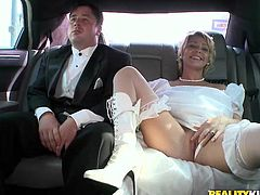 Dude on the way to his wedding with his bride in a limo and they pull over so just some random guy can fuck her pussy before they marry. Yeah, right!