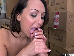 Meet Vanessa, a very slutty mom that loves big hard cocks. I have a dong just for her and because she bended over like a cheap slut and then sucked me, I cummed all over her face. That big hot booty I drilled hard and her cum asking lips made me gave her a huge load. Is this mom satisfied or should I give her more?