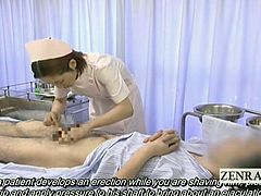 Bizarre and weird medical CFNM at a Japanese hospital where a by the books nurse begins shaving the pubic hair of a bottomless patient but pauses when she notices his apparent erection which she dutifully takes care of via a medicinal handjob th