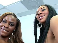 Big booty Nubian queens Carmela Mulatto and Tori Taylor gang up on a white hunk who mercilessly drills their silky black asses and signs off on them with a cumshot.