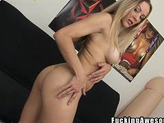 This dirty blonde bitch likes the taste of cock. She plays with her boobs and then gobbles on a cock. Wow, she loves deep throating cock and she's very good at it. She even bits down on the cock, too. Look at her take it all.