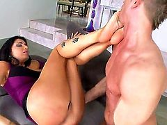Examine the cool-looking scene with magnetic leggy hottie Romi Rain. She is going to give really nice footjob to handsome lucky man before getting pussy licked well.