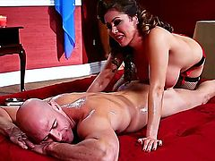 Johnny Sins makes Kianna Dior with big breasts gag on his thick man meat