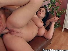 Chubby brunette Martina strips and shows her big natural tits to some guy. Then she slams her vag with a toy and lets the dude drill her meaty vag in all positions.