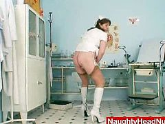 Nasty nurse granny gaping her wet pussy in this solo clinic encounter. She will show us how big that cunt can get. Feel it and measure it if you want to fuck her.