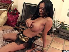 Priya Rai has a big set of tits and luscious brown skin. Her black hair is long and flowing. She lays on the floor and spreads her legs to show perfect pussy. She licks her silver dildo to make it nice and wet. Then she sticks it in her vagina and pulls it in and out. She loves masturbating for you. Watch her make herself cum.