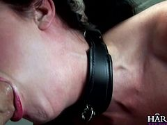Dirty babe receives a huge cock stretching her shaved ass in wild anal hardcore