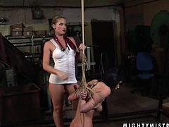 This cruel mistress knows how to make punishment effective. She binds her slave in rope to ensure she can't escape. Then she puts her skills to test giving every kind of kinky torture to this sex freak.