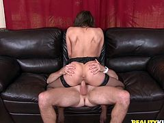 A slutty-ass fucking bitch sucks on a hard cock and then gets it shoved balls deep into her motherfucking pink-ass gash!
