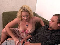 This curly blonde woman with big boobs is craving for spicy action in her sexual life. So she talks her hubby to have gangbang. Watch this kinky clip presented by Fame Digital. Worth watching clip!