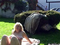 Nasty mature lady gets down and dirty with son-in-law. She's sunbathing when her son-in-law finds her and lures her into sex. She sucks his cock and then rides it hard. Wanna see?