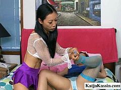 Well, this a bit weird but hot lesbian sex presented in Pornstar xxx clip is surely worth your attention. Spoiled Asian brunette with pigtails wears stockings and pulls up skirt to open her soaking pussy. Spoiled brunette housewife rubs her cunt with feet and jams tits then to bring some joy and pleasure.