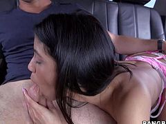 Veronica Rodriguez is one skinny long legged sexy . She bares her tiny tits in the backseat and then sucks dudes hard dick. She he sticks his pole in her here nice sexy pussy from behind.