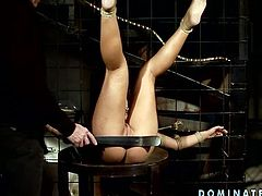 Voracious hooker is a big fan of restraint and sexual tortures. So she gets her hands tied up to the cage so she can not release. The master bangs her sex slave doggy style.