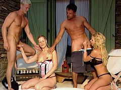 Cute blonde chick Sandra Mark and her BF are having a good time with their neighbours. They swing partners and decide to have a cock-riding competition.