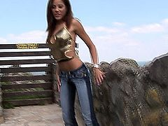 Eroberlin charming cutie young hungarian teen Anita Pearl outdoor in Jeans sexy open public masturbation long haired small tits sweet innocent beautiful girl