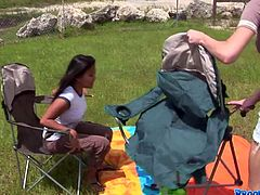 Group of horny young students are having a picnic outdoor. However instead of enjoying bright sun and clear air, young lesbians tongue fuck each other's shaved pussies and poke them with dildo in insane group sex orgy by Pornstar.