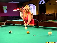 A sdirty-ass fucking whore sucks on a hard prick and then gets it shoved balls deep into her motherfucking gash on the pool table!