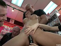 Hot Gia Dimarco undresses to show her big boobs in a shop. Later on she gets fucked in her mouth and pussy in public.