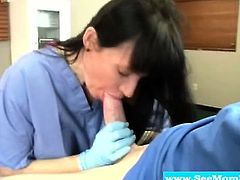 Mature nurse sucks his younger cock
